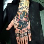 American traditional tattoos on the hand