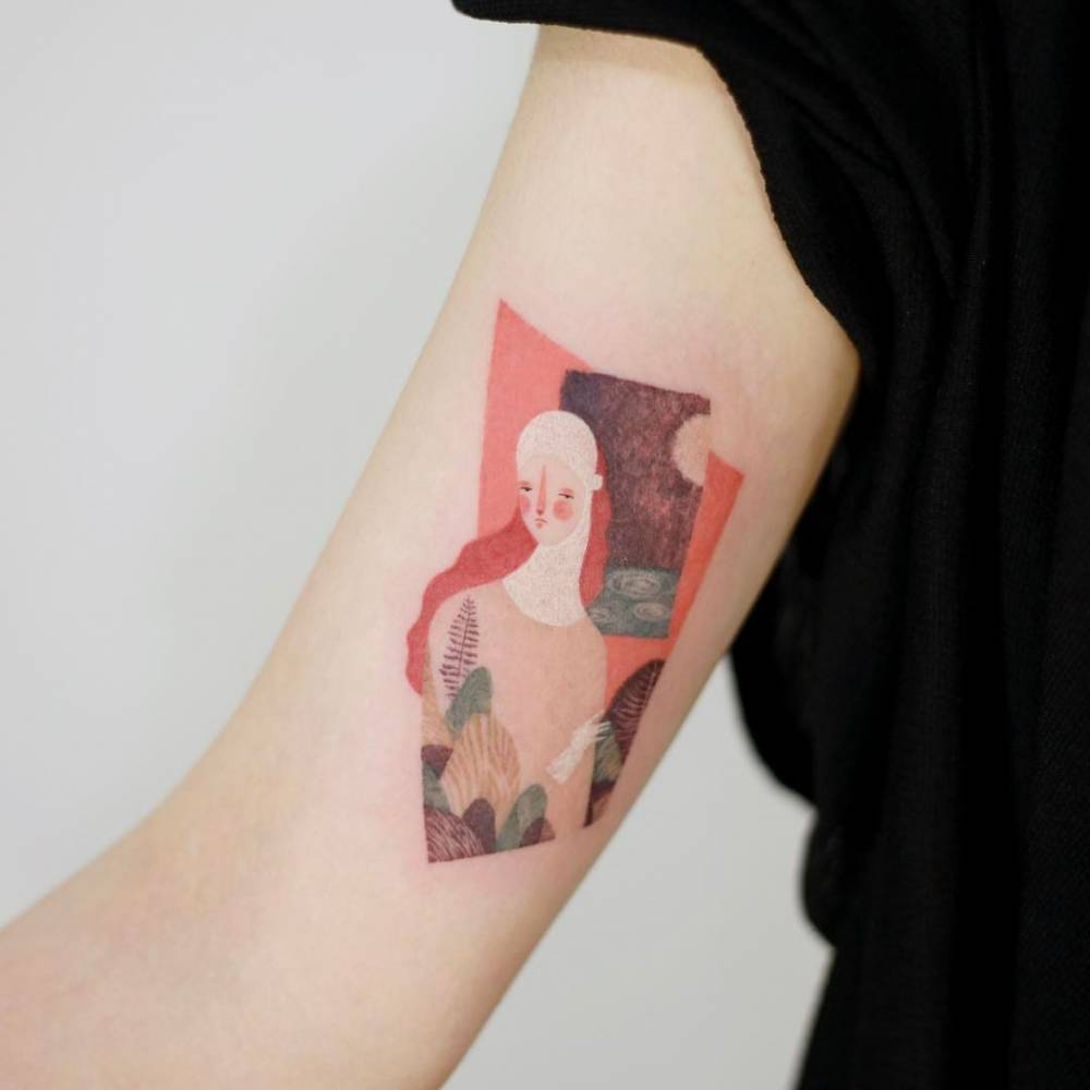 Beautiful painting like tattoo of a girl