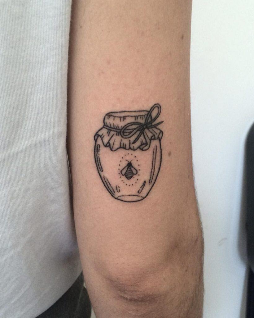 Bee in a jar tattoo