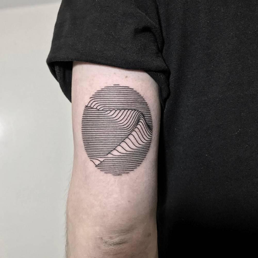Bent wave tattoo