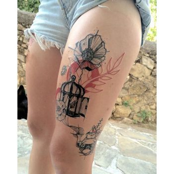 Birdcage and flowers tattoo
