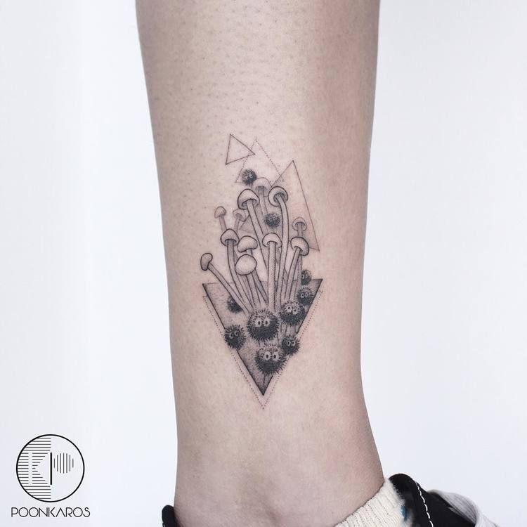 d084d5374 Black and grey mushrooms tattoo - Tattoogrid.net