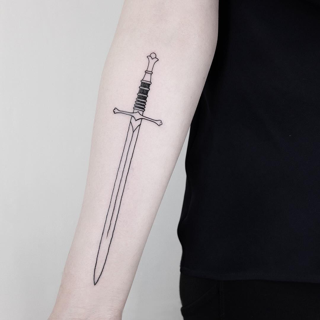 Black and grey sword tattoo
