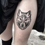 Black fox head tattoo