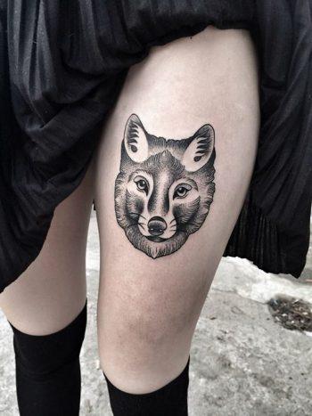 Black fox head tattoo