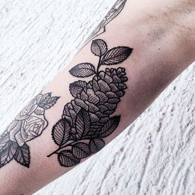 Blackwork cone tattoo