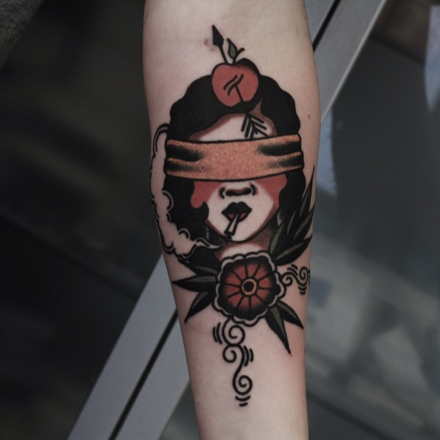 Blindfolded women traditional tattoo