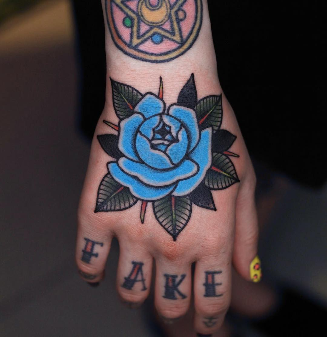 Blue rose and word fake tattoos
