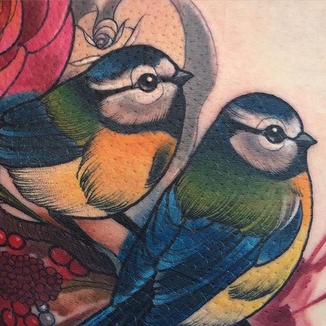 Blue tit tattoo
