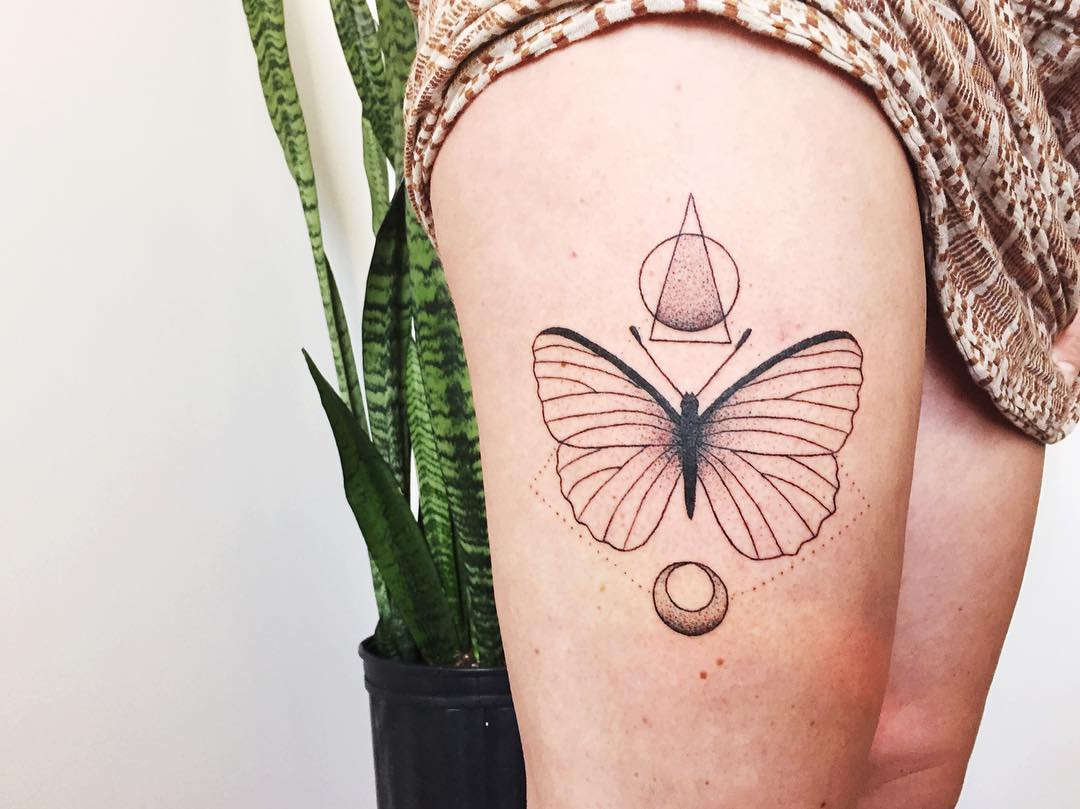 Butterfly and geometric shapes tattoo