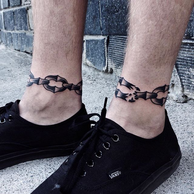 Chain tattoos on ankles