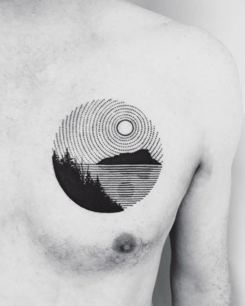 Circular black dashed landscape tattoo