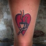 Coffee and cigarettes tattoo on the ankle