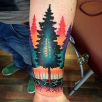 Colorful forest tattoo