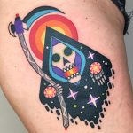 Colorful grim reaper tattoo