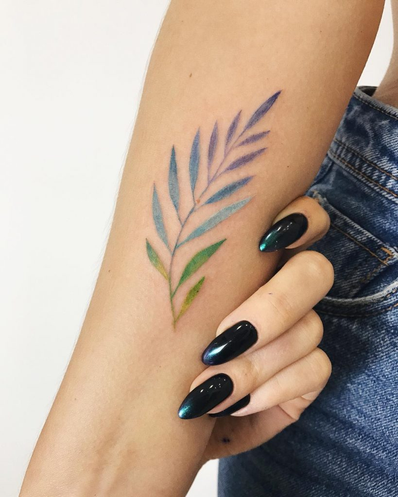 Colorful leaf tattoo