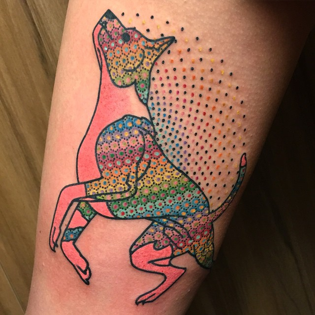 Colorful pattern dog tattoo