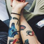 Colorful tattoos for a couple