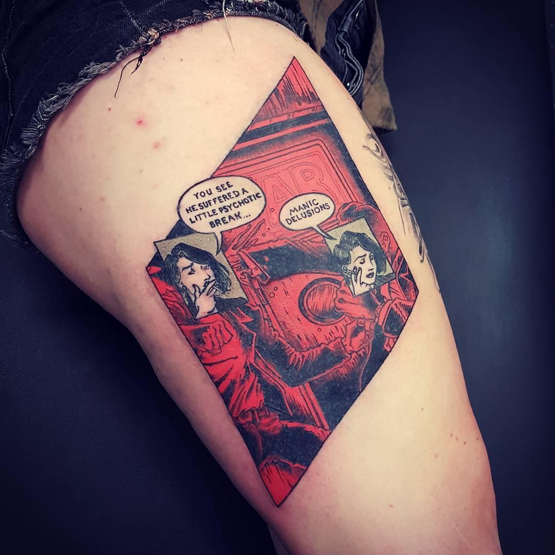 Comics scenery tattoo
