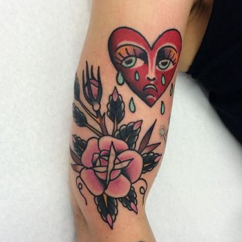 Crying heart and pink rose tattoo