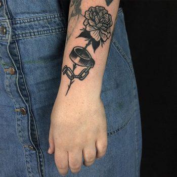Cuffed flower tattoo