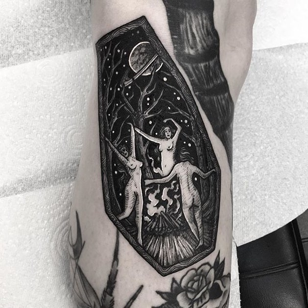 Dancing witches tattoo