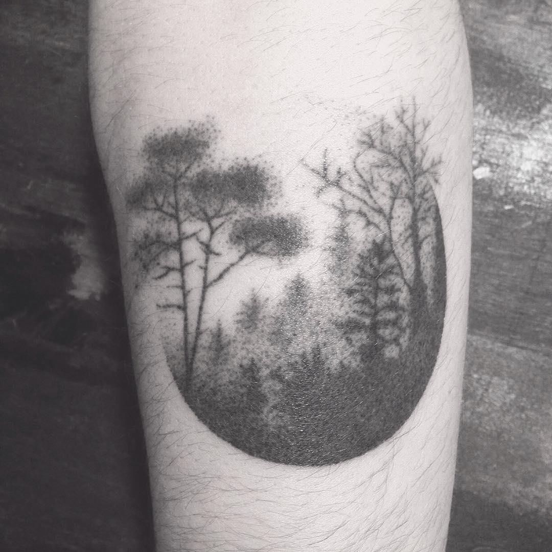 Dotwork circular forest tattoo