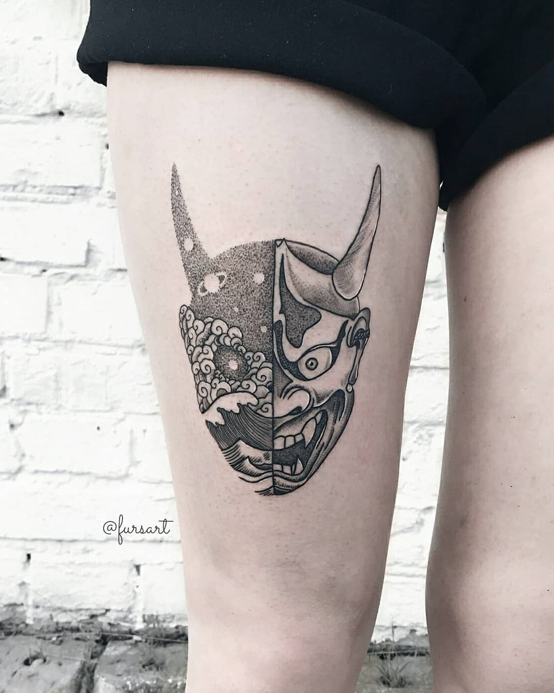 Double exposure devil's face tattoo