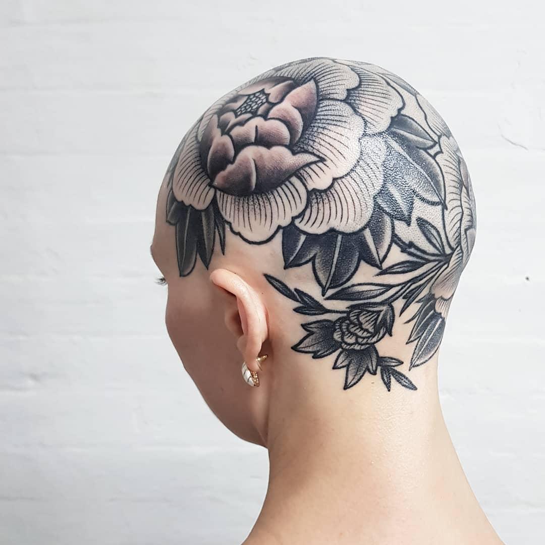 Flower tattoo on the head
