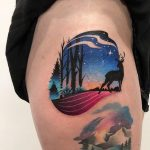 Forest at night and deer tattoo