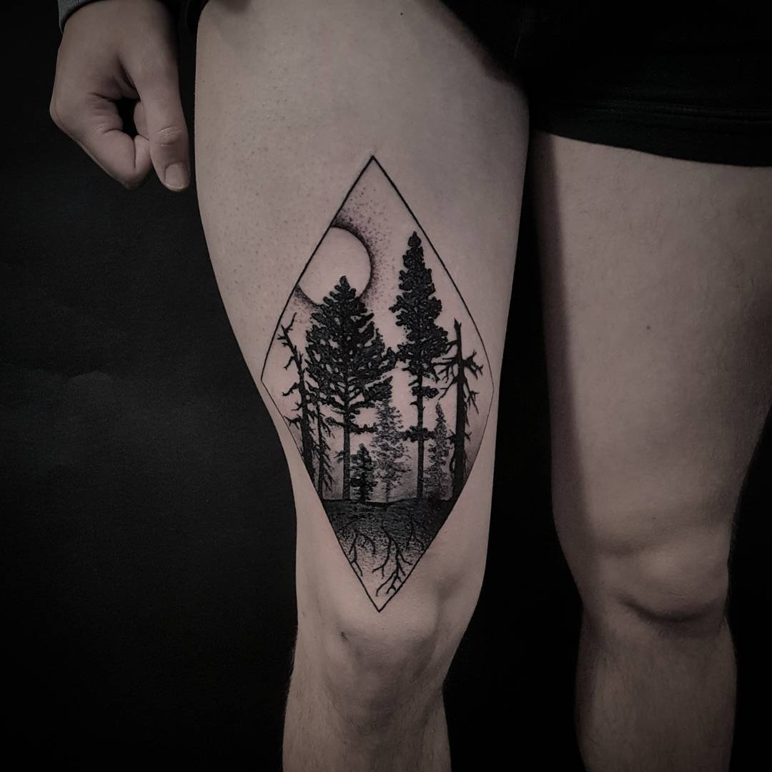 Forest in a rhombus tattoo