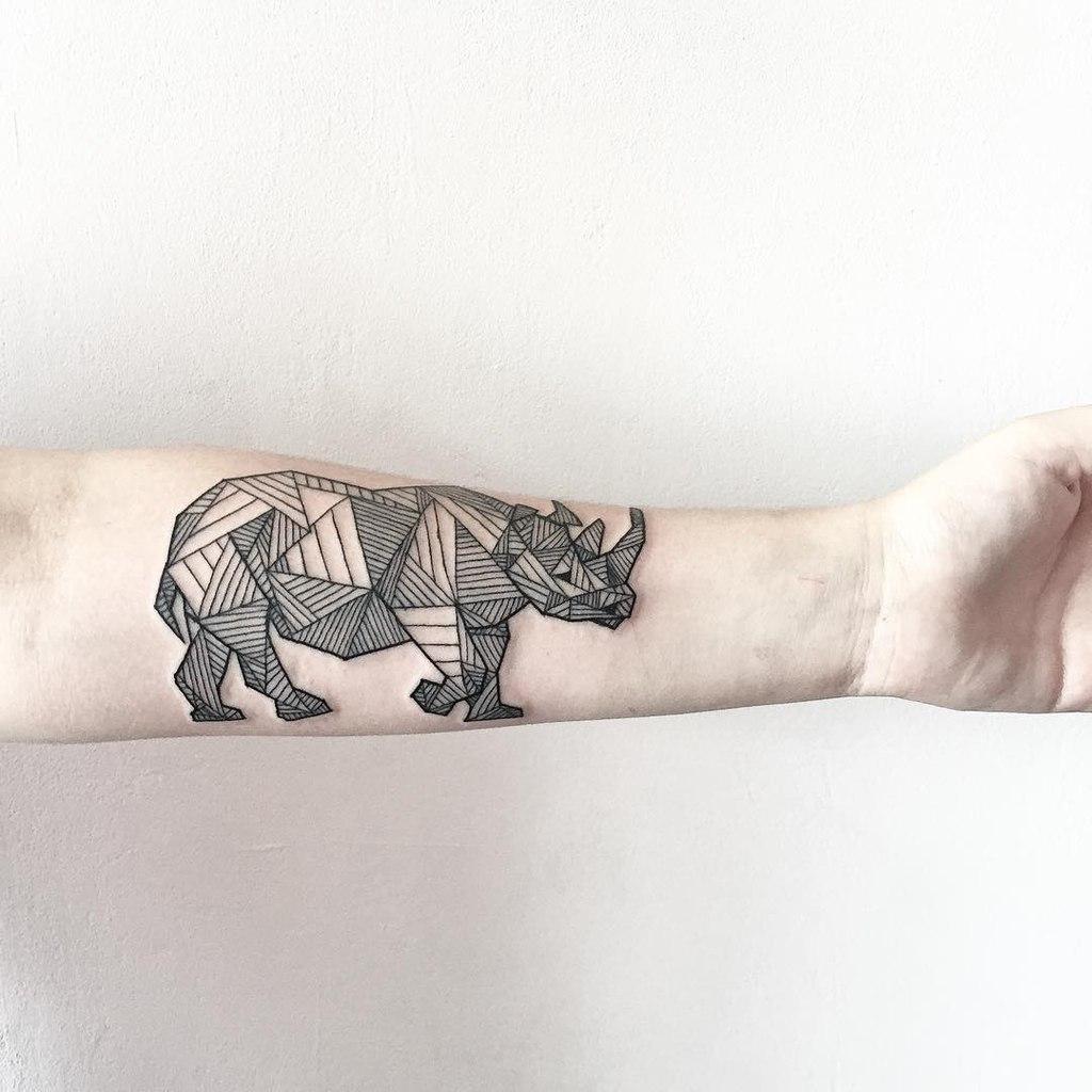Geometric rhino tattoo