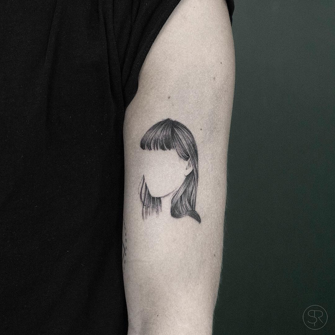 Girl with no face tattoo