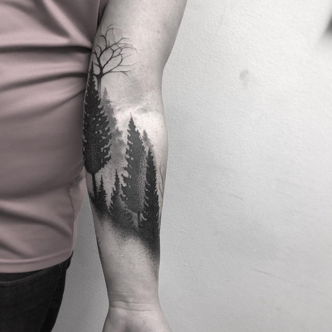 Gradient forest tattoo