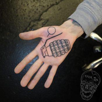 Hand granade tattoo