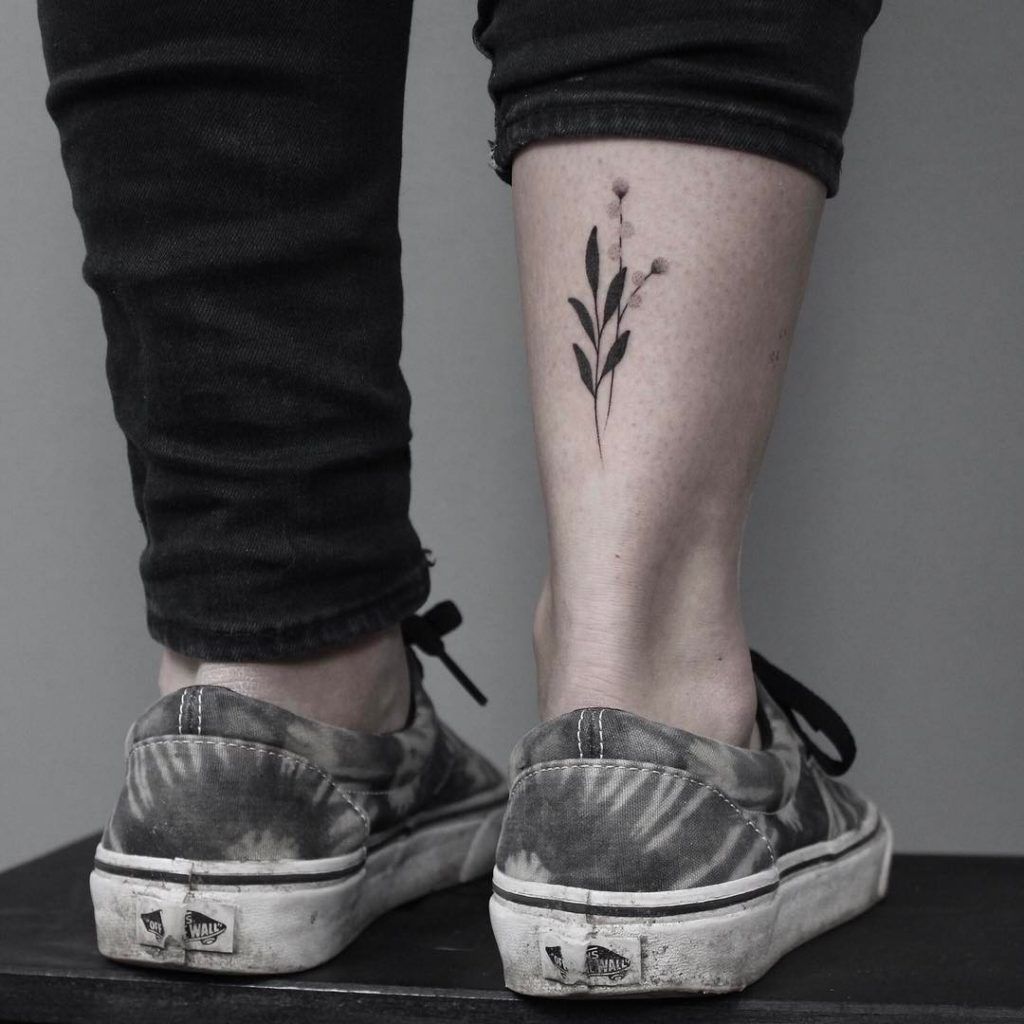 Handpoked plant tattoo