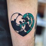 Heart shaped panda tattoo
