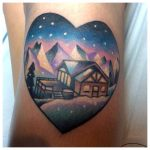 Heart shaped winter landscape tattoo