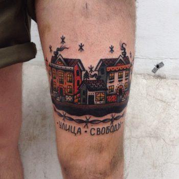 Hometown scenery tattoo
