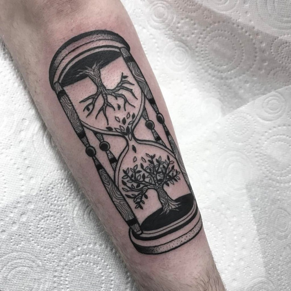 Hourglass with tree of life tattoo