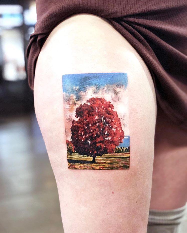 Impressionist style painting tattoo