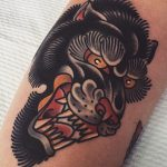 Japanese style angry wolf tattoo
