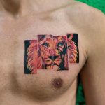 Lion tattoo on the chest