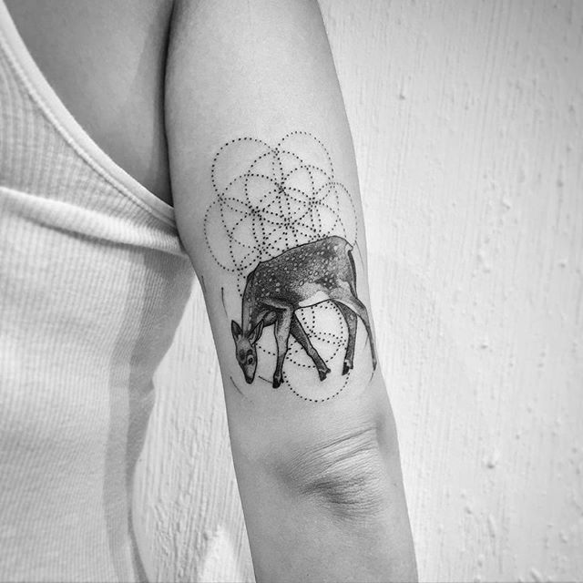 Lovely deer and seed of life tattoo