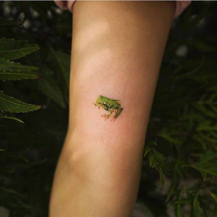 Lovely small frog tattoo