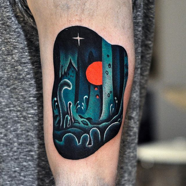 Magical psychodelic forest tattoo
