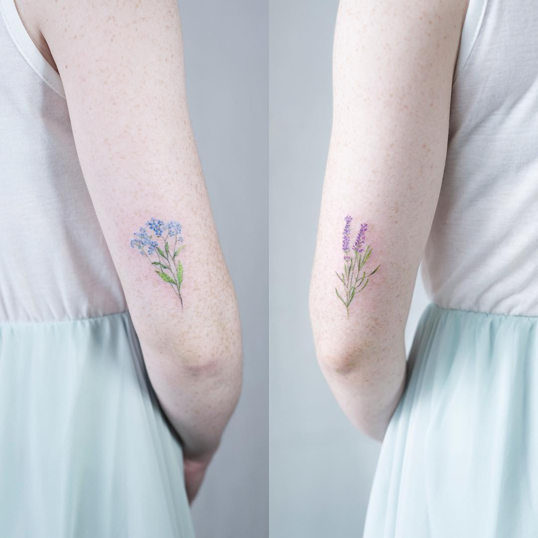 Matching forget me not and lavender tattoos