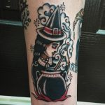 Medieval witch tattoo