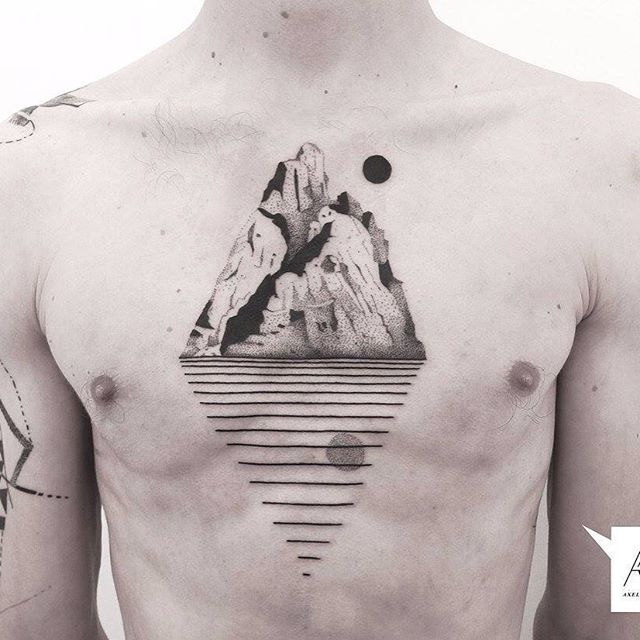 Minimalist mountain and line reflection tattoo