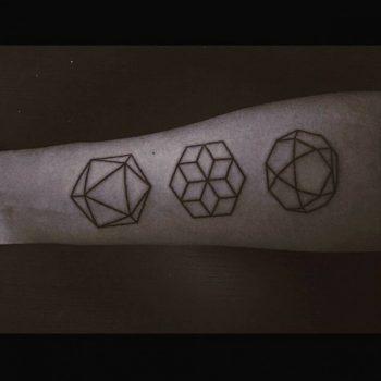 Mninimalist three geometric shape tattoos